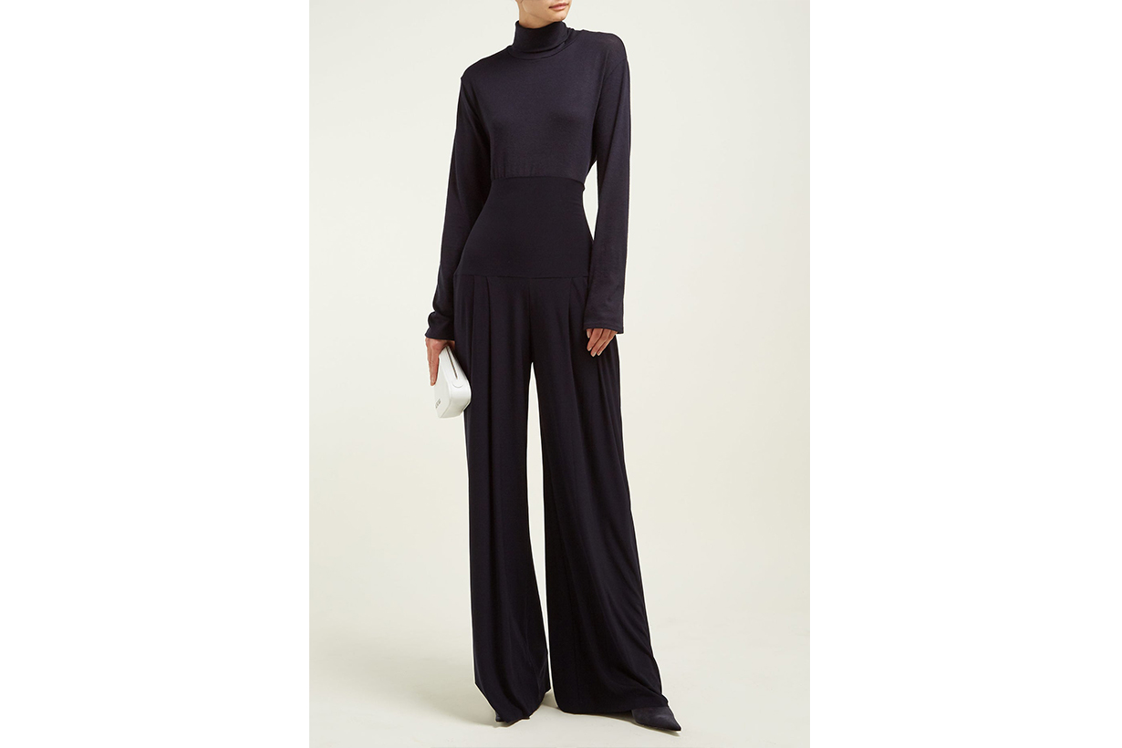 High-Rise Pleated Wide-Leg Trousers