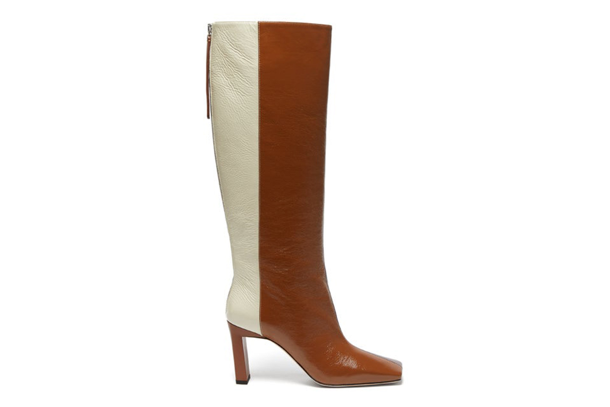 Isa Tri-Colour Square-Toe Leather Boots