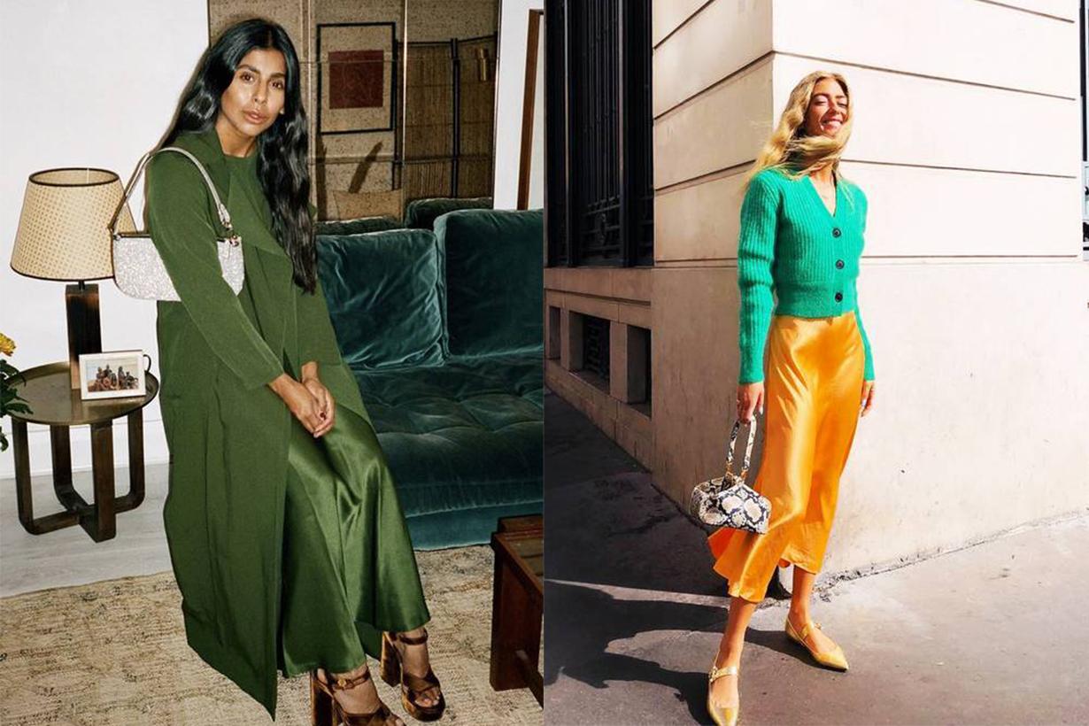 Knitwear and Slip Dress Street Style