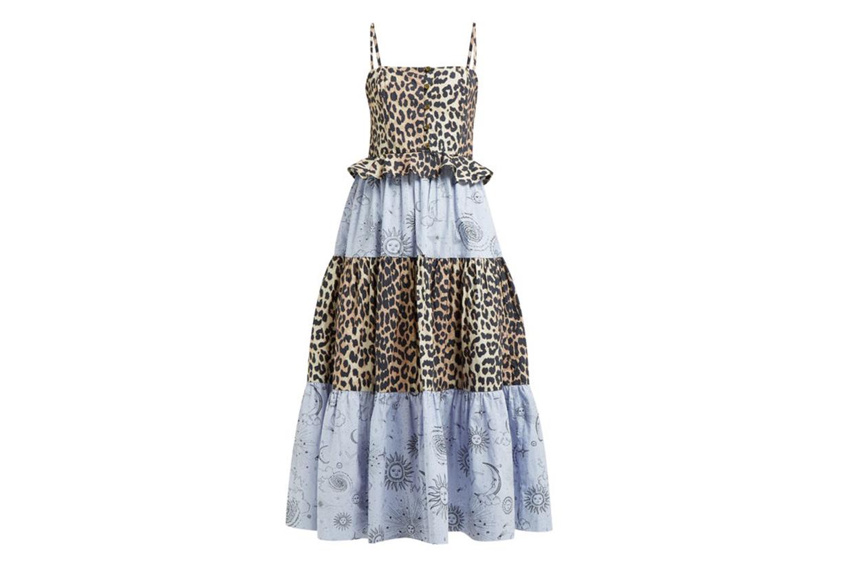 Leopard and Moon-Print Tiered Poplin Midi Dress