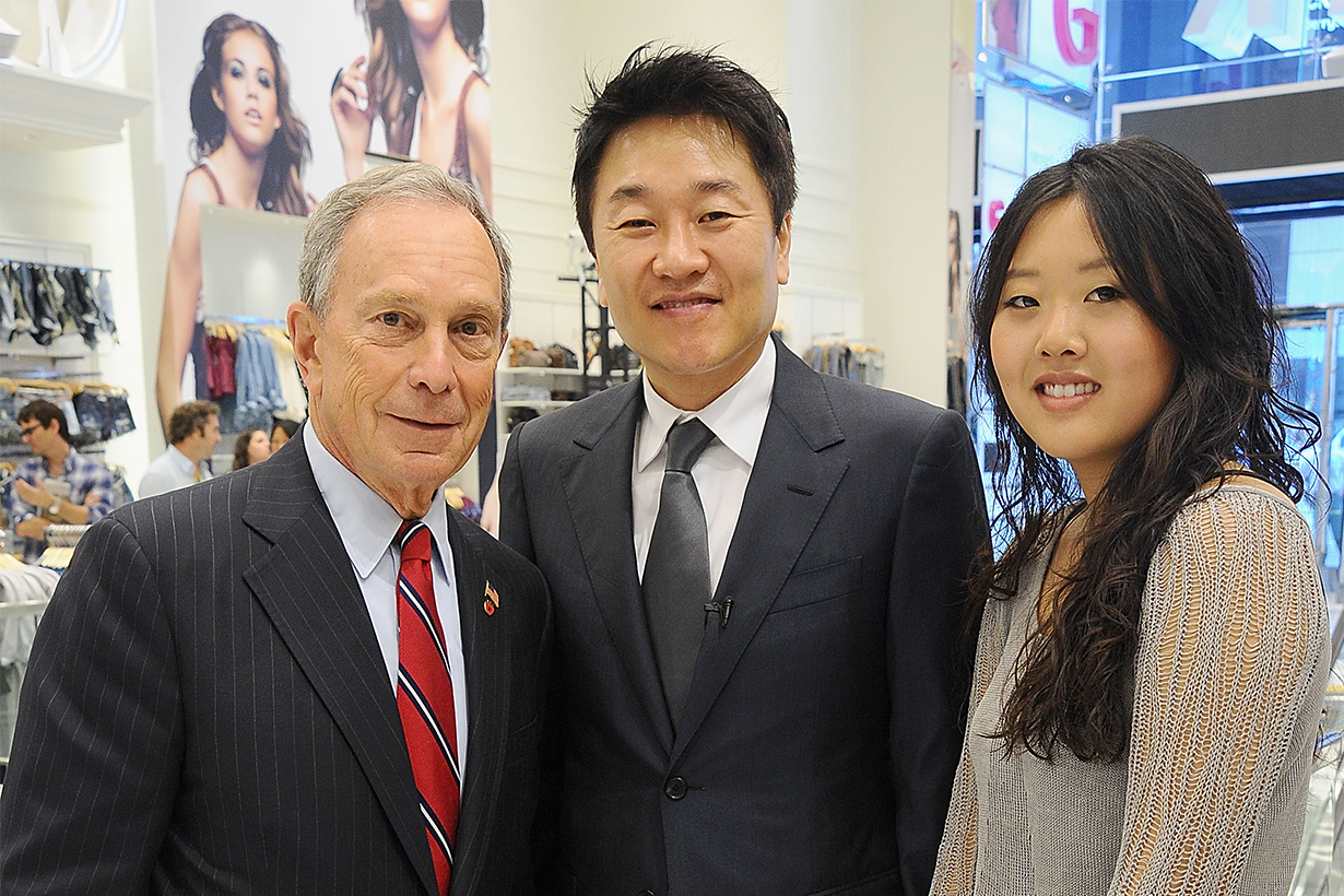 New York City Mayor Michael Bloomberg, Don Chang,CEO of Forever 21 and Linda Chang,senior marketing manager of Forever 21 visit the Forever 21 new Times Square location