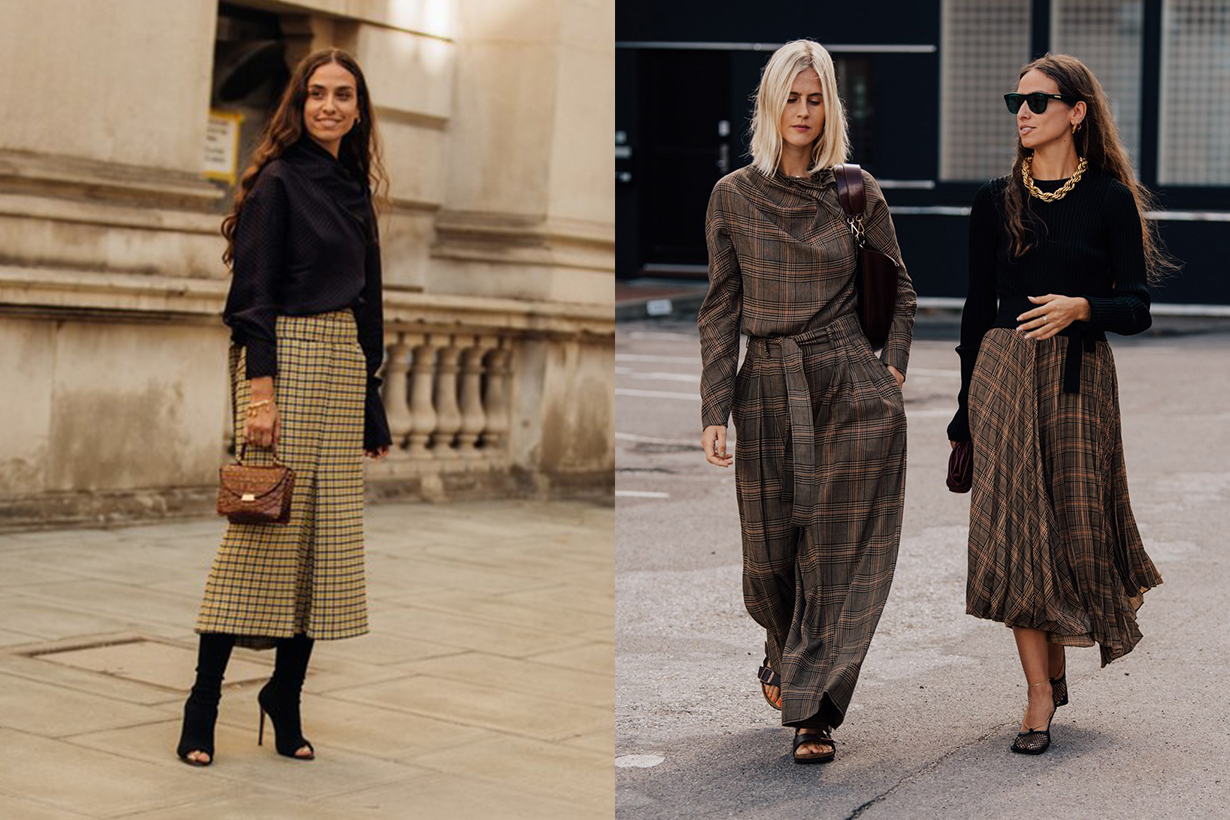 Checked Midi Skirt Fall Street Style Fashion Week