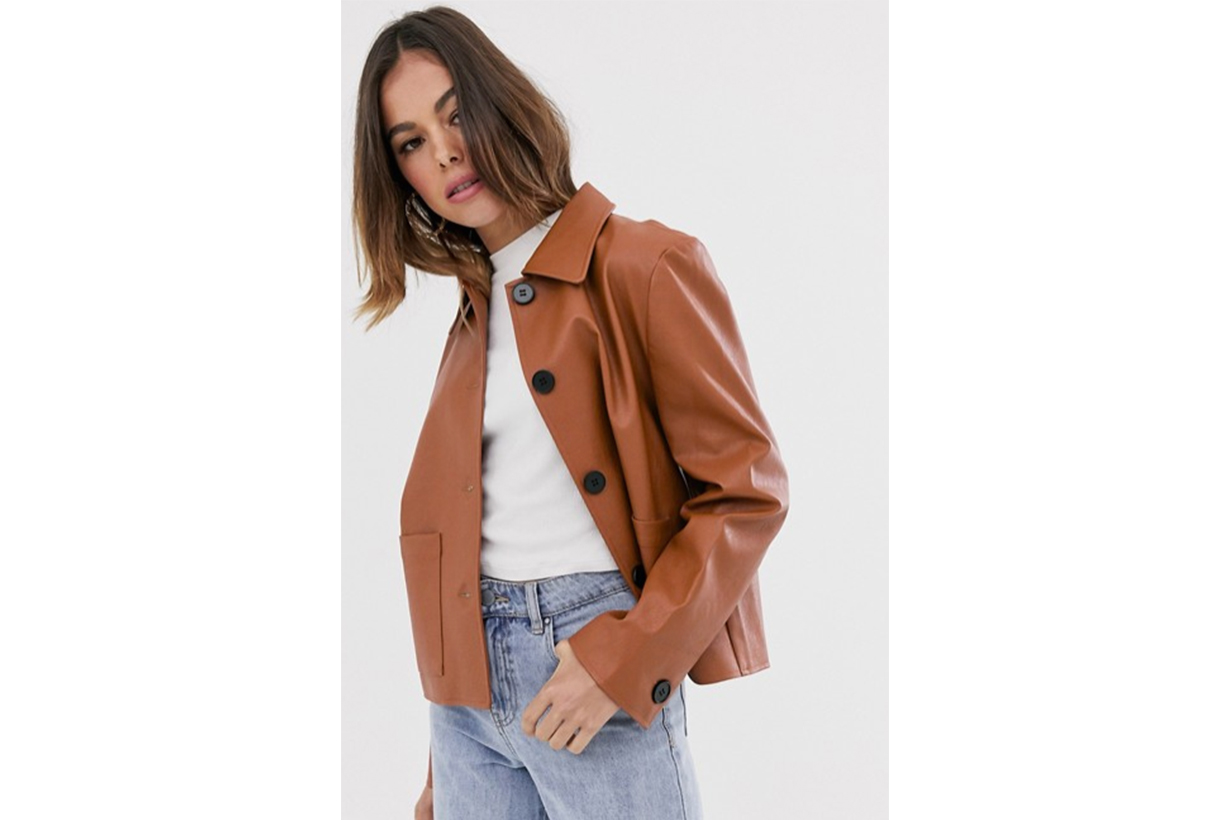 Moon River Faux Leather Cropped Jacket