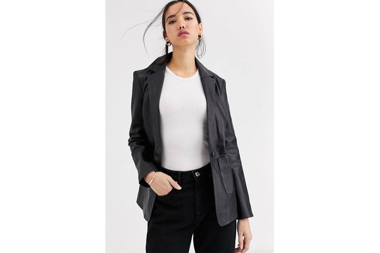 Muubaa Boxy Blazer Style Leather Jacket