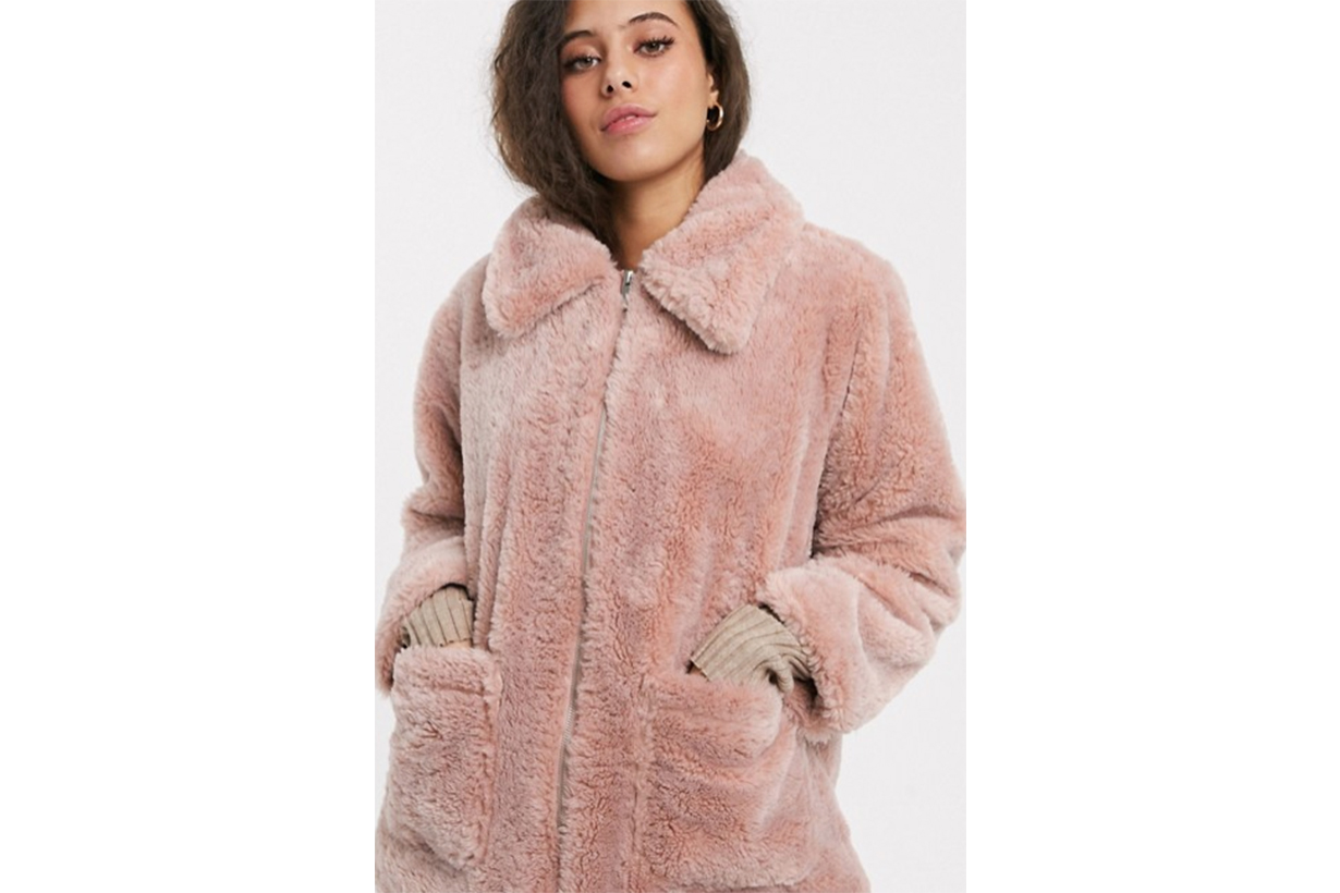 New Look Petite Zip Through Borg Shearling Jacket in Pink