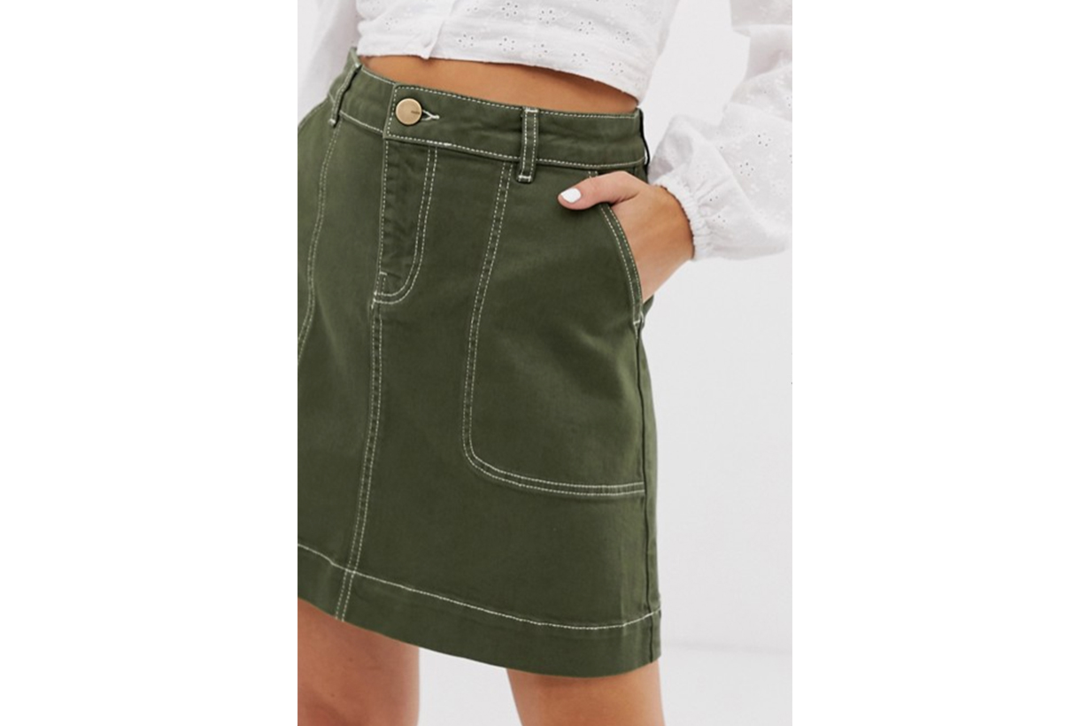 Oasis Mini Skirt with Cargo Pockets in Khaki