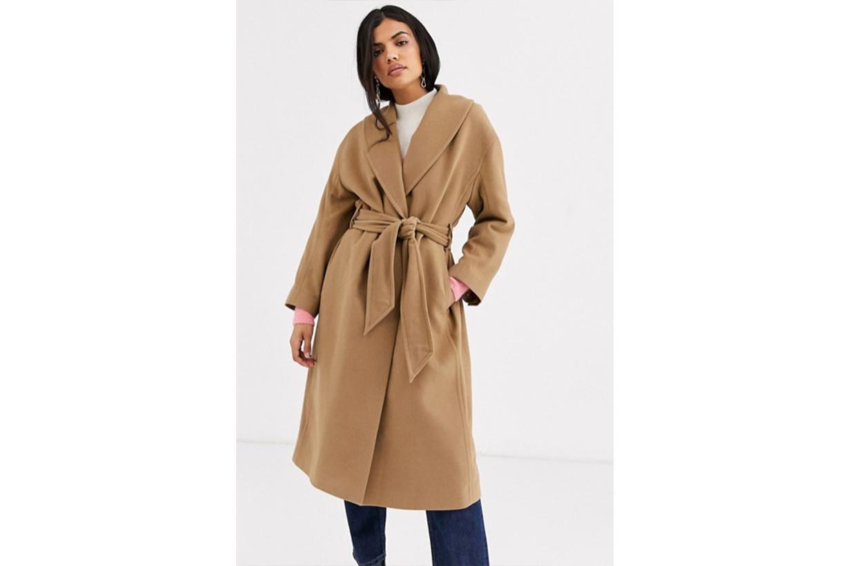 & Other Stories Tie-Waist Wool Coat in Camel