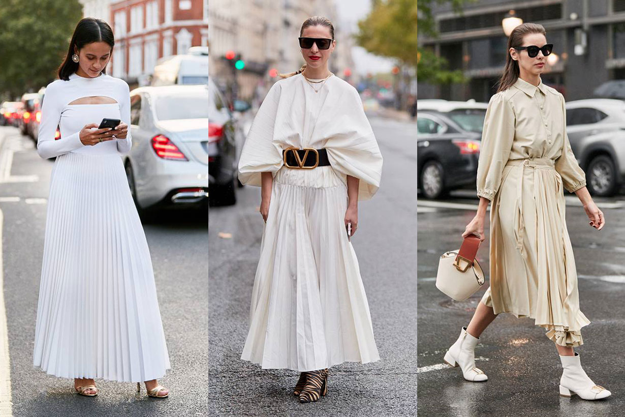White Pleated Dress Street Style