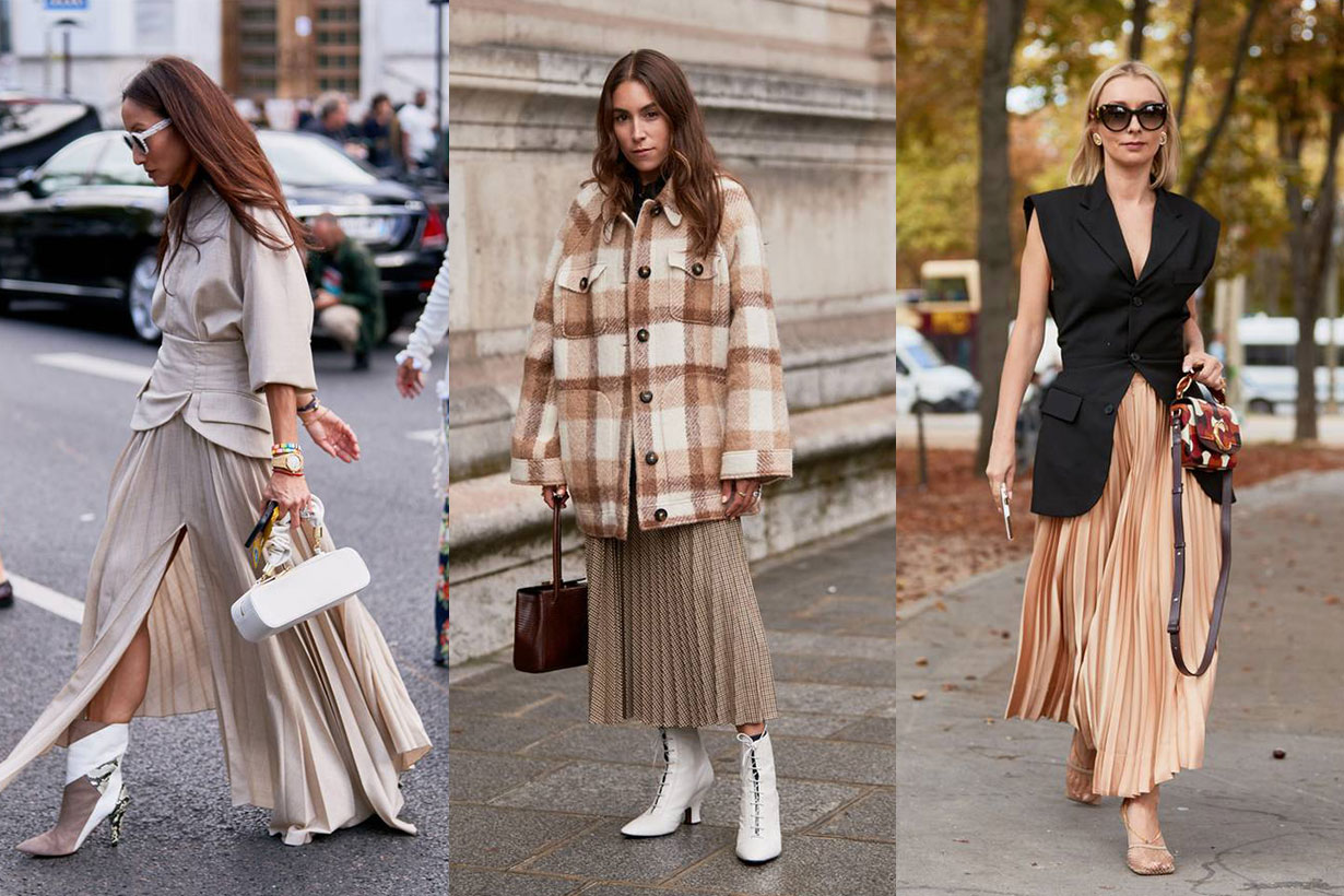 Fall Pleated Skirt Fashion Week Street Style