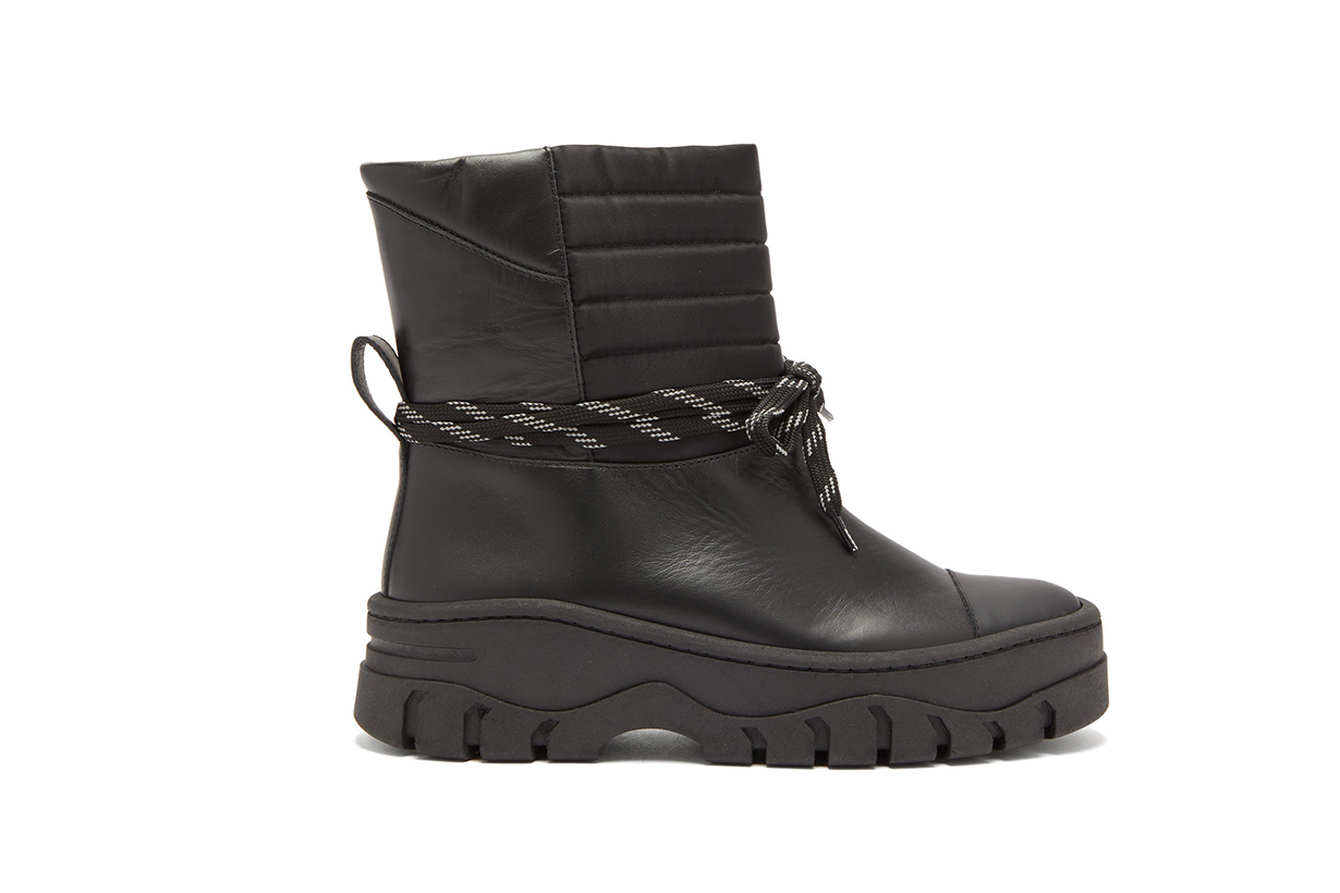 Quilted-Panel Leather Biker Boots