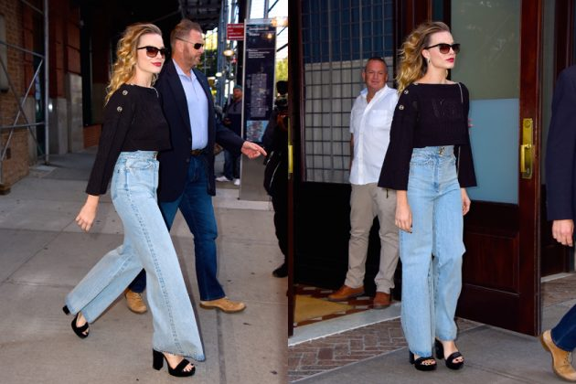 margot robbie jeans trends flared wide 19aw