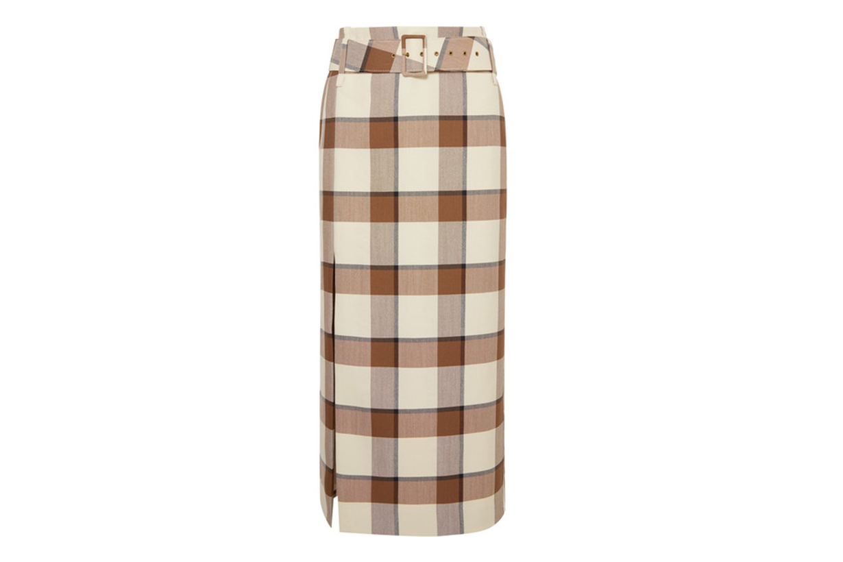 Simone Belted Checked Wool-Blend Piqué Midi Skirt