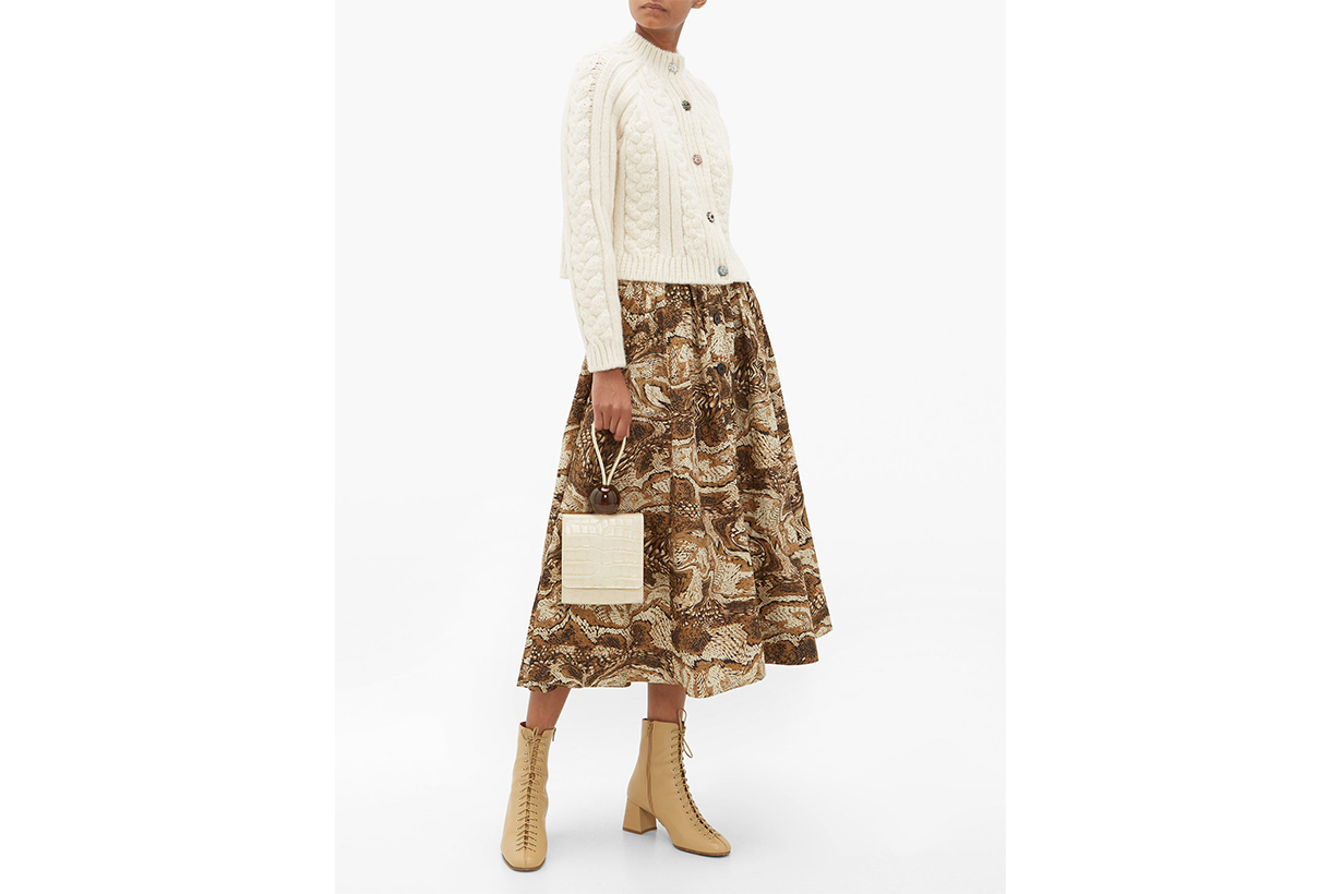 Tiger's Eye-Print Button-Down Cotton Midi Skirt