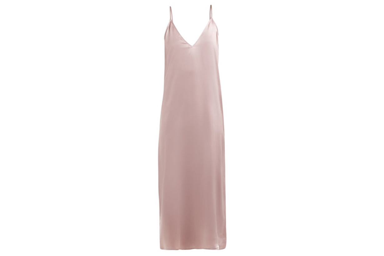 V-Neck Silk Slip Dress