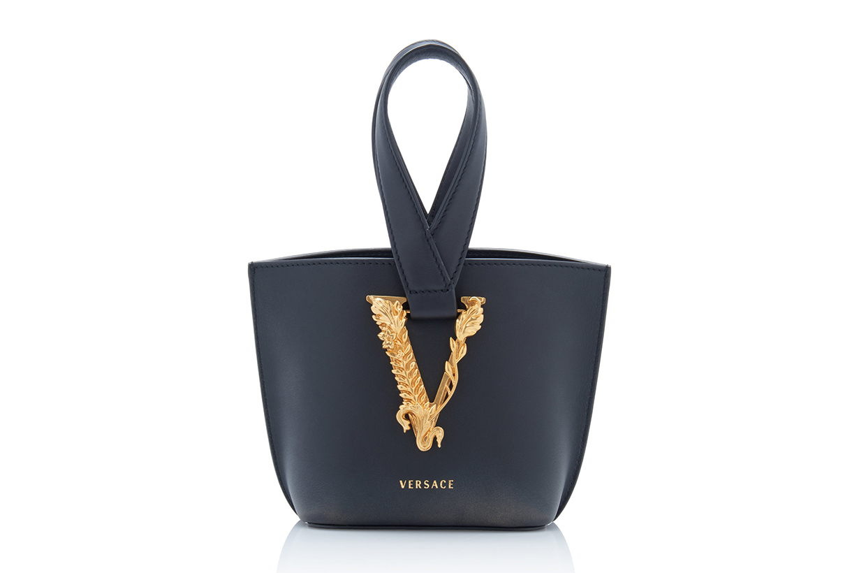 Versace Tribute Leather Loop Top Handle Bag