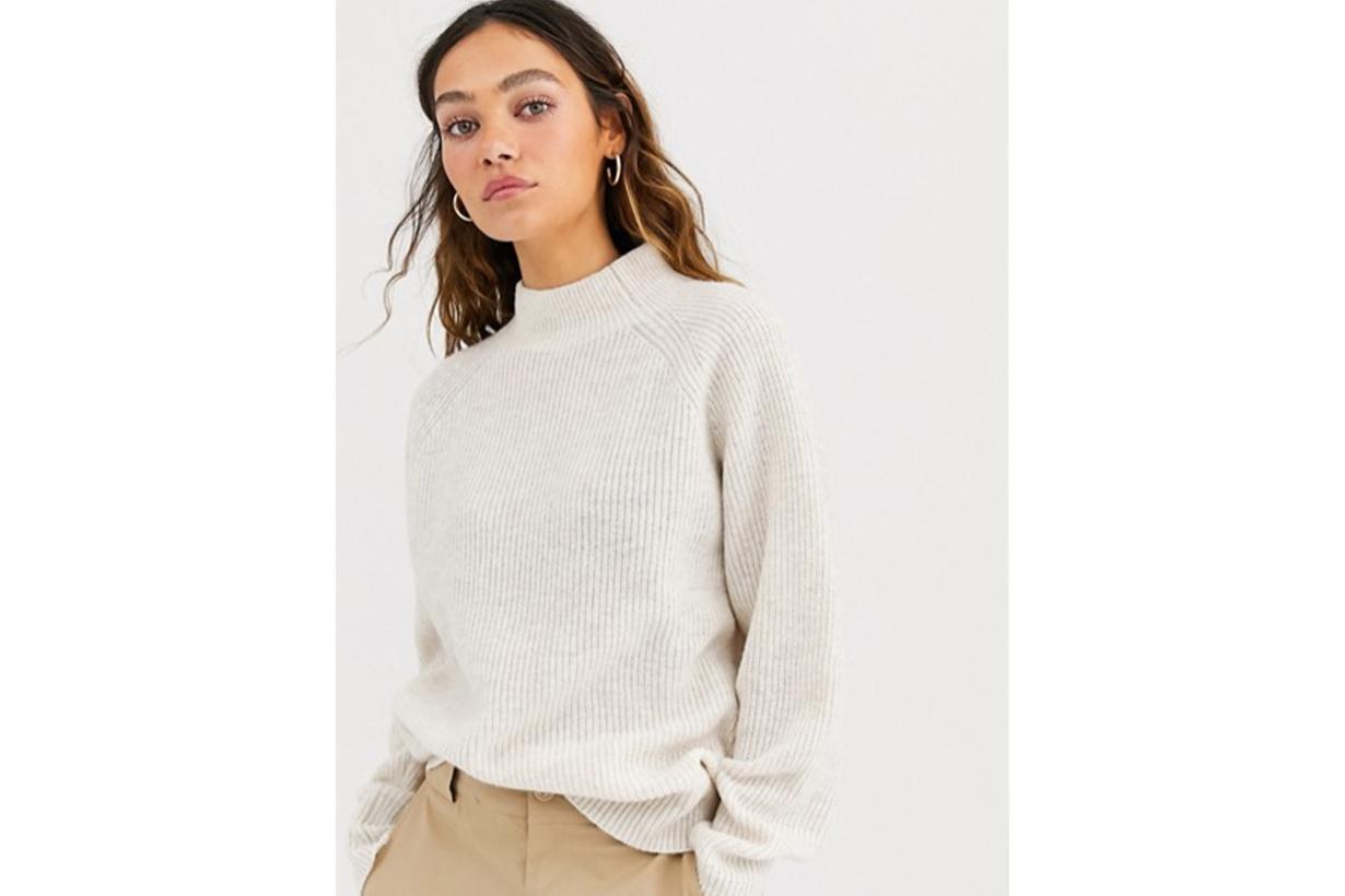 Weekday Claudia Sweater in White Melange