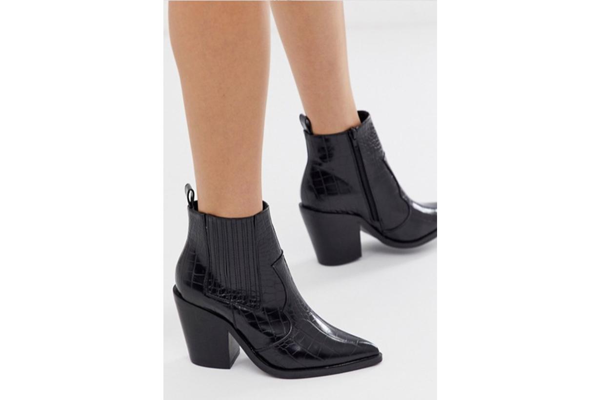 ASOS DESIGN Elliot Western Ankle Boots in Black Croc