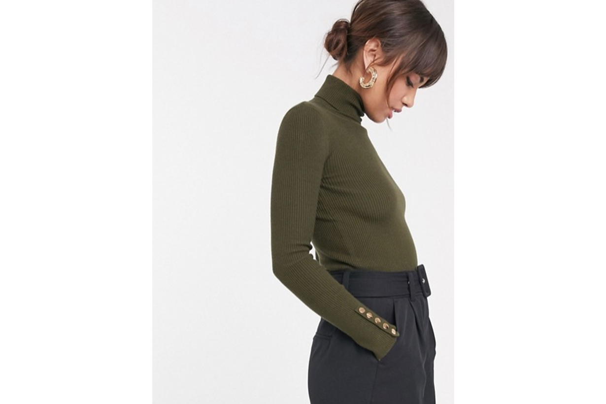 ASOS DESIGN Gold Button Cuff Roll Neck