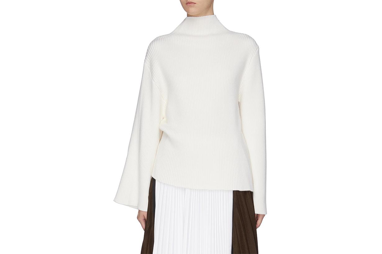 Asymmetric Sleeve Wool Rib Knit Turtleneck Sweater