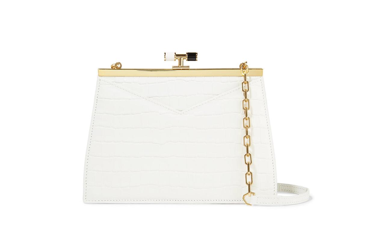 Chateau Glossed Croc-effect Leather Shoulder Bag