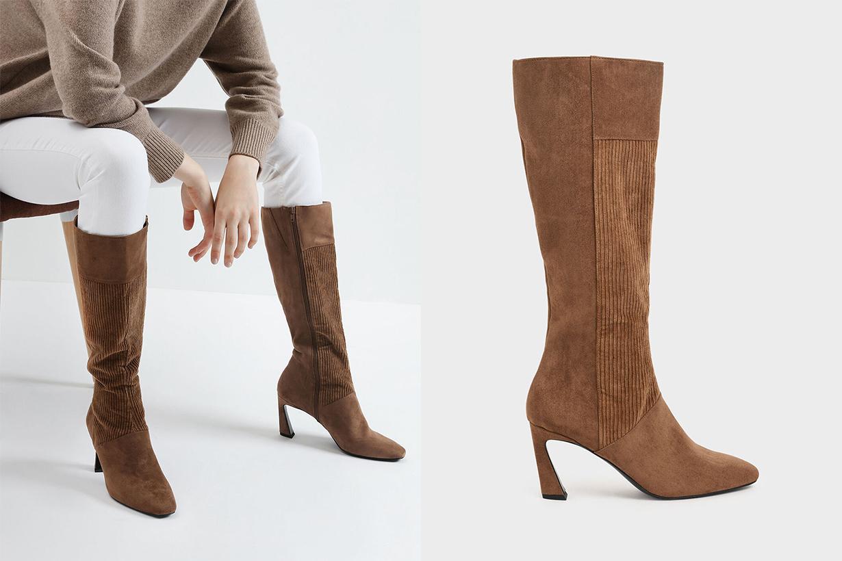 Corduroy Sculptural Heel Knee High Boots