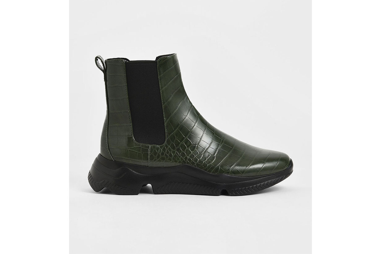 Croc-Effect Chunky Sole Chelsea Boots