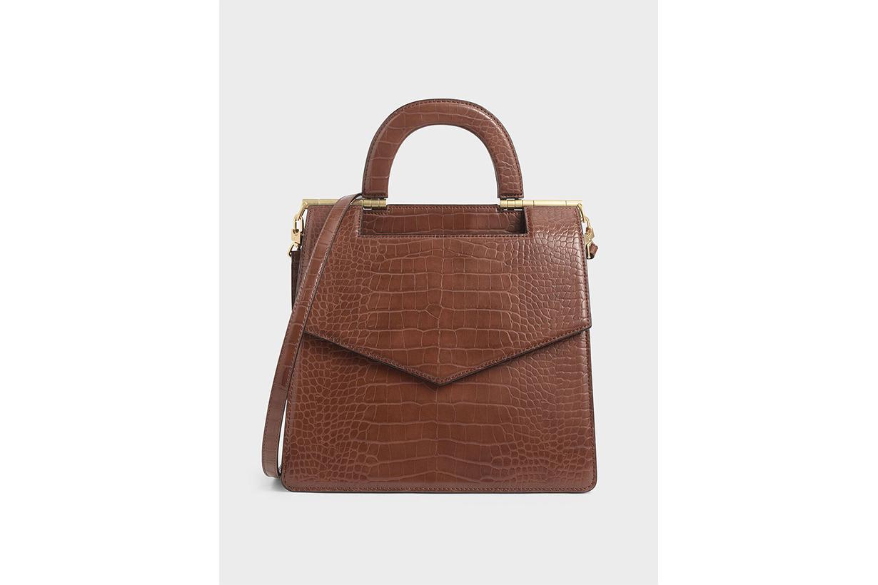 Croc-Effect Envelope Bag