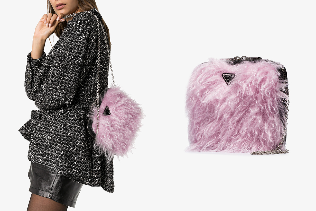 prada cargo fluffy pink bag faux fur 90s