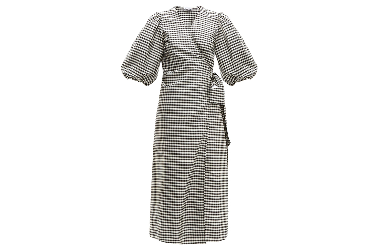 Gingham Silk-crepe Wrap Dress