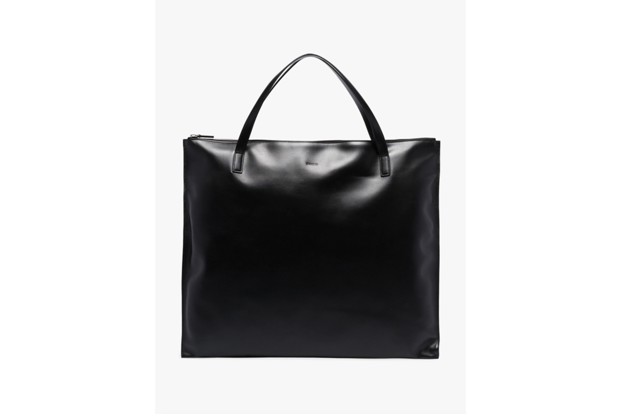 Jil Sander Black Medium Square Leather Tote Bag
