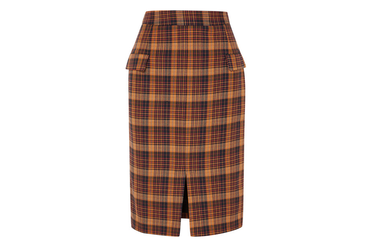 Maine Checked Cotton-blend Pencil Skirt