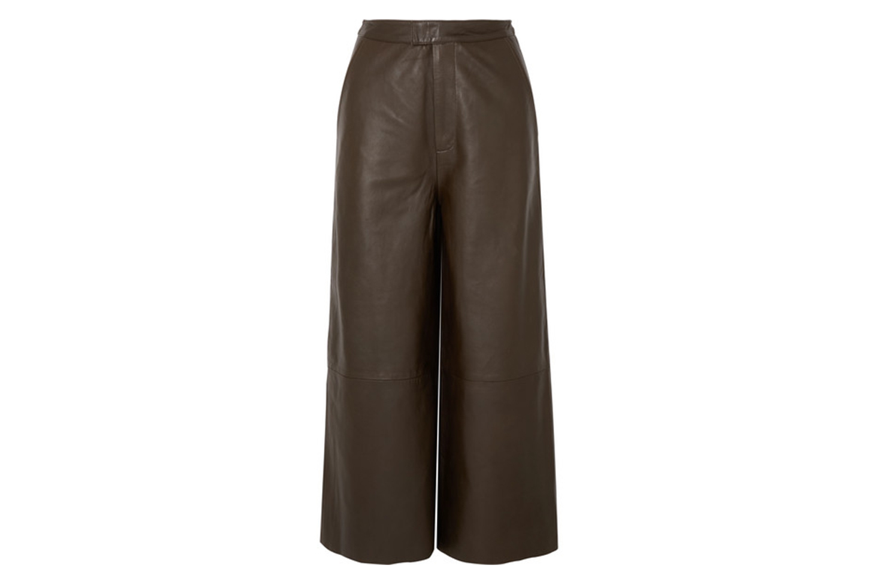 Manu Cropped Leather Wide-leg Pants