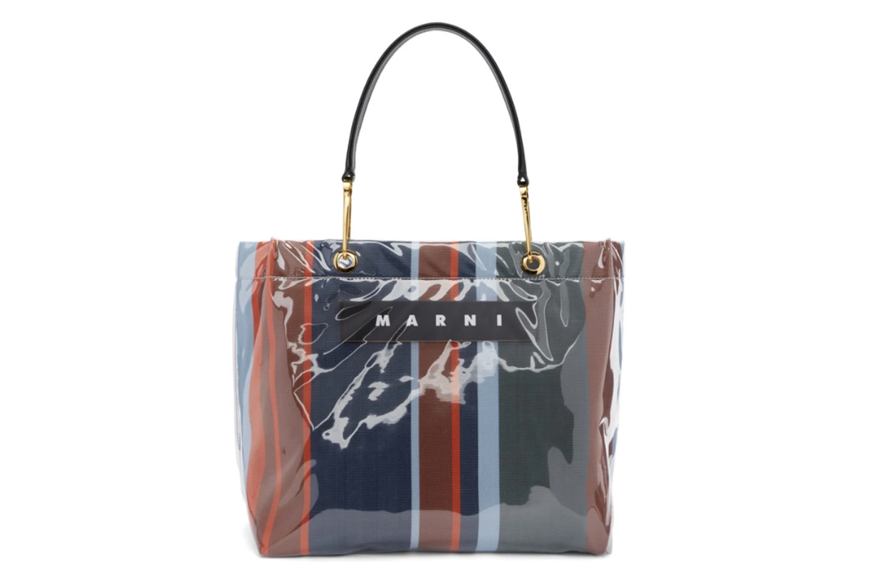 Marni Navy & Red Glossy Grip Shopper Tote