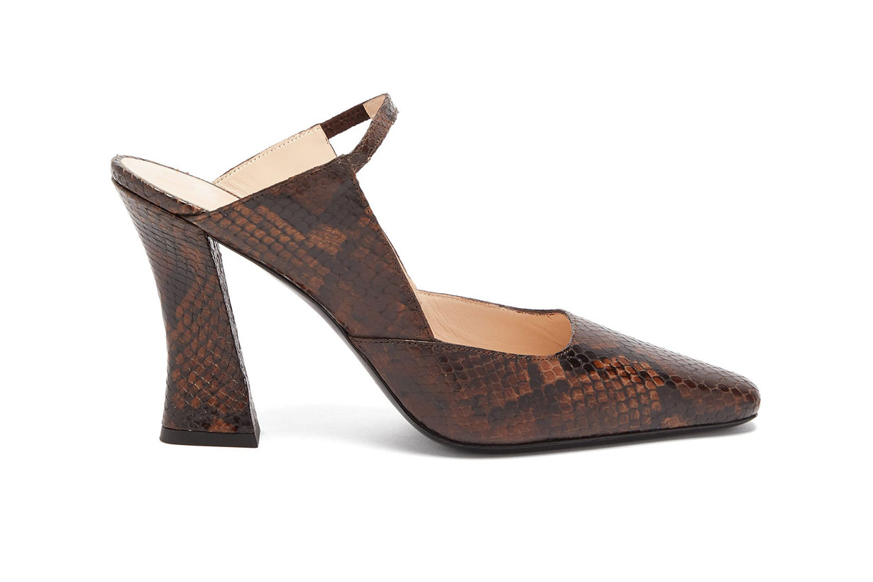 Melanie Curved-heel Snake-effect Leather Mules