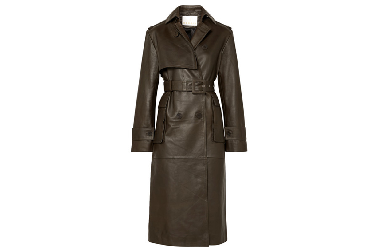 Pirello Belted Leather Trench Coat