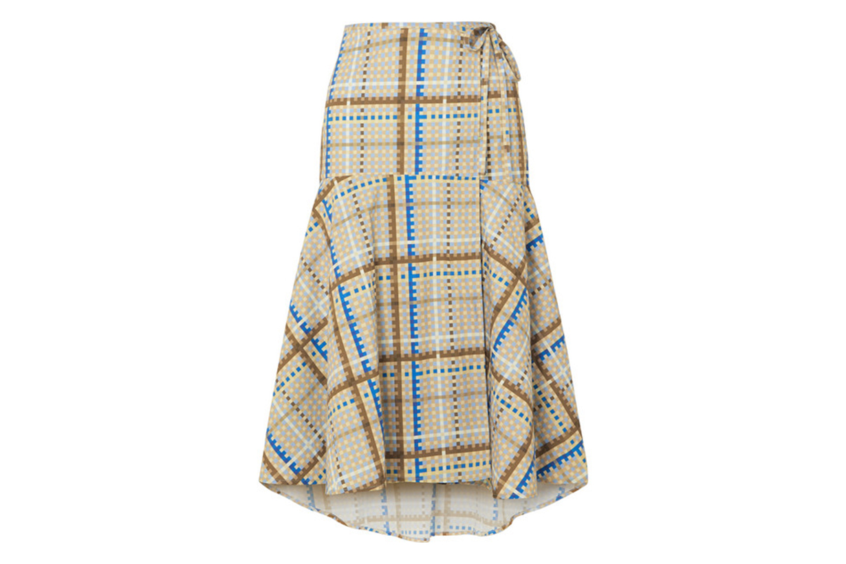 Tiered Checked Cotton-poplin Wrap Skirt