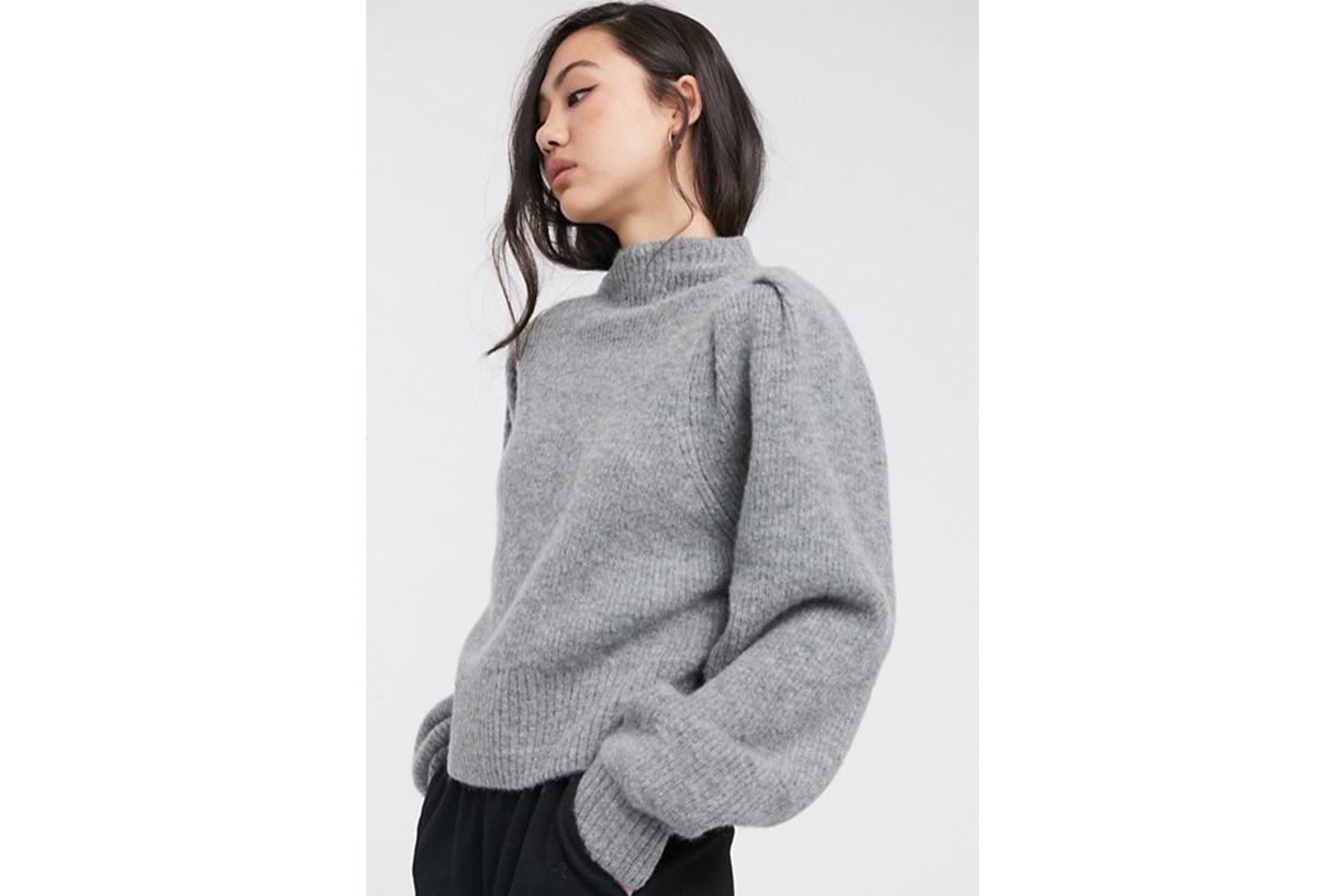 Weekday Sadie Puff Sleeve Jumper in Grey