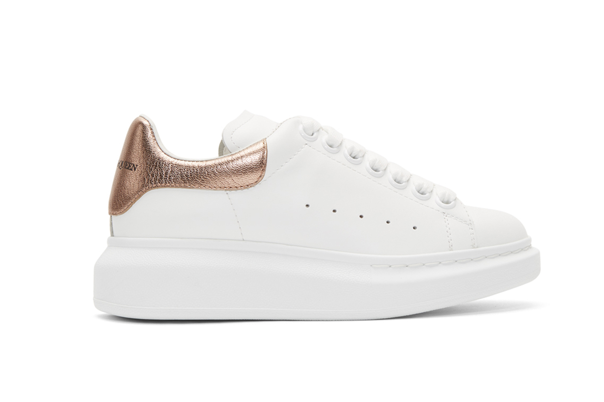 White & Rose Gold Metallic Oversized Sneakers