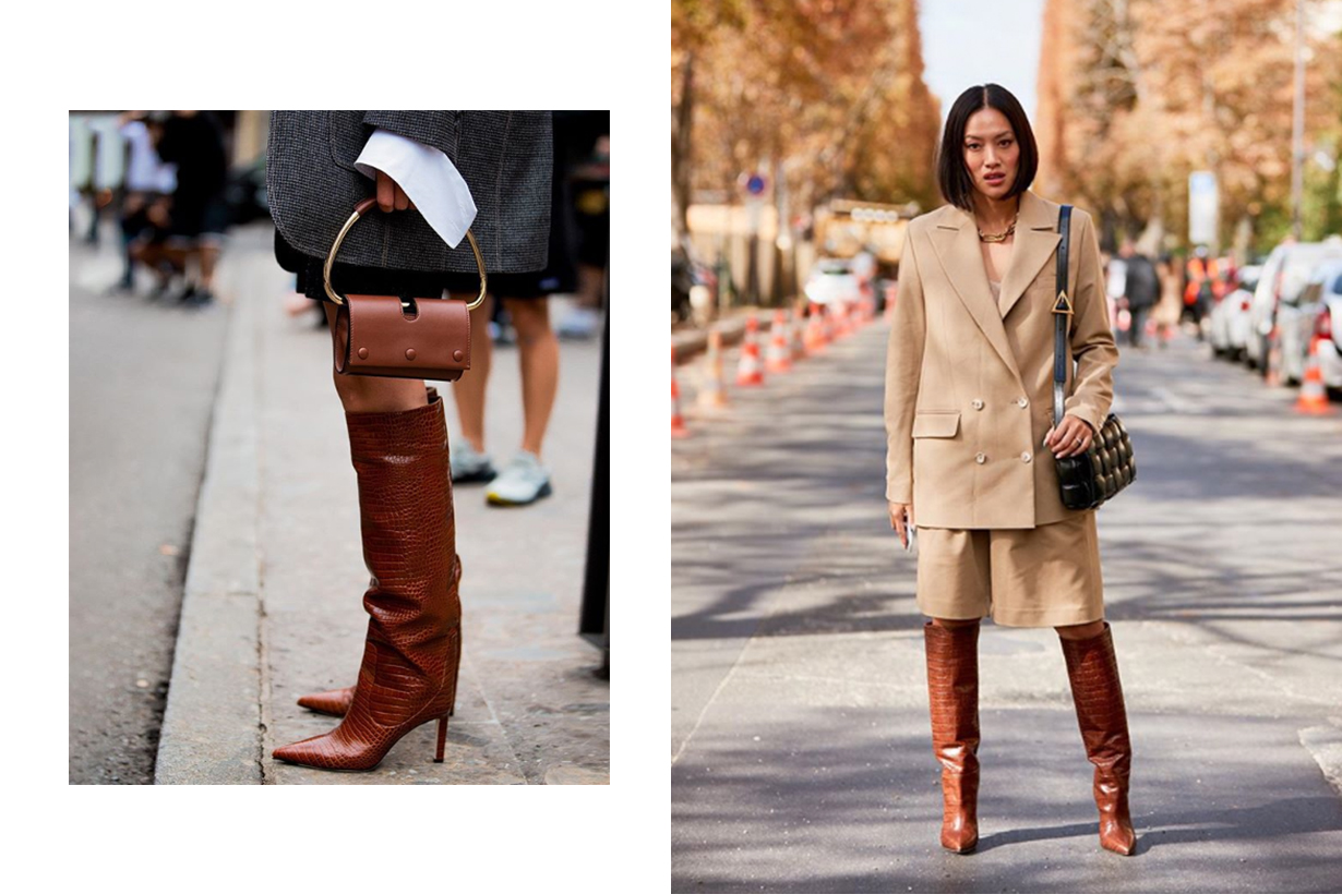 Brown Cocr Effect Boots Street Style