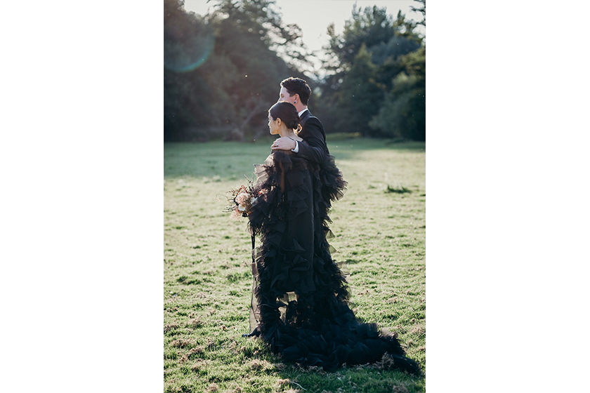 black wedding dress dark style wedding Lydia Pang and Roo Williams