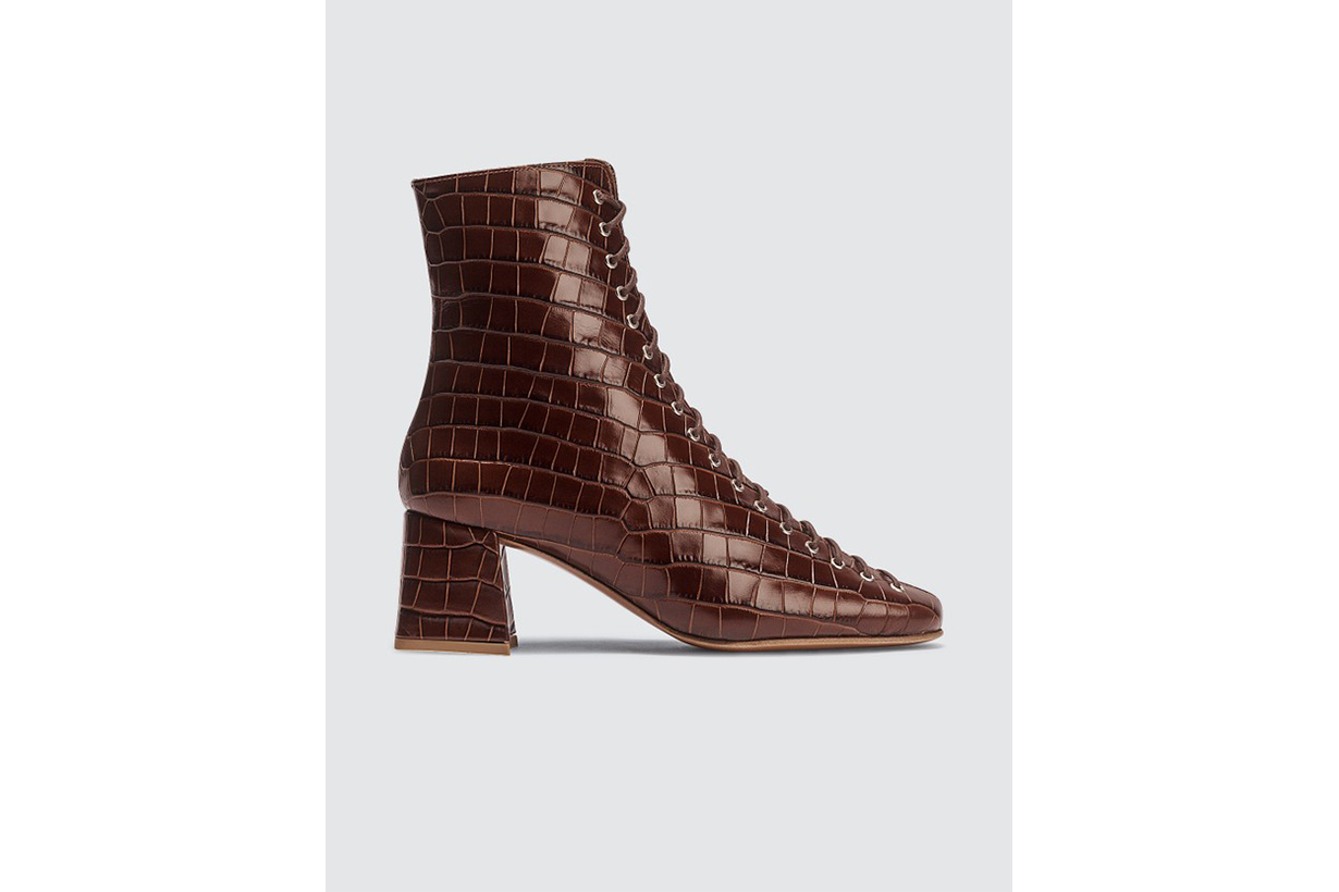 BY FAR Becca Nutella Croco Embossed Leather Boots
