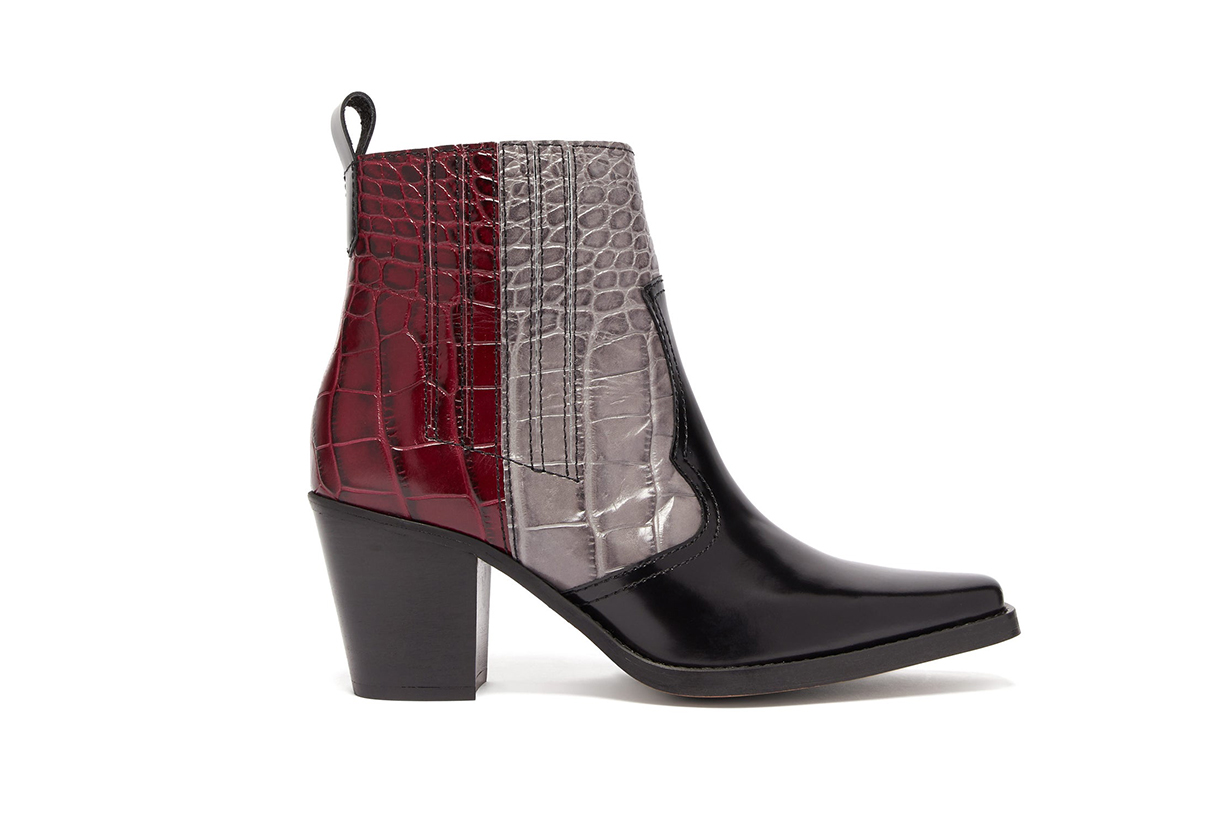 Callie Crocodile-effect Leather Ankle Boots