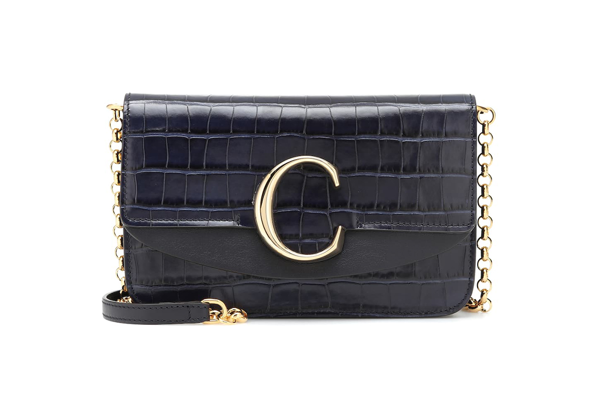 Chloé C Croc-effect Leather Clutch