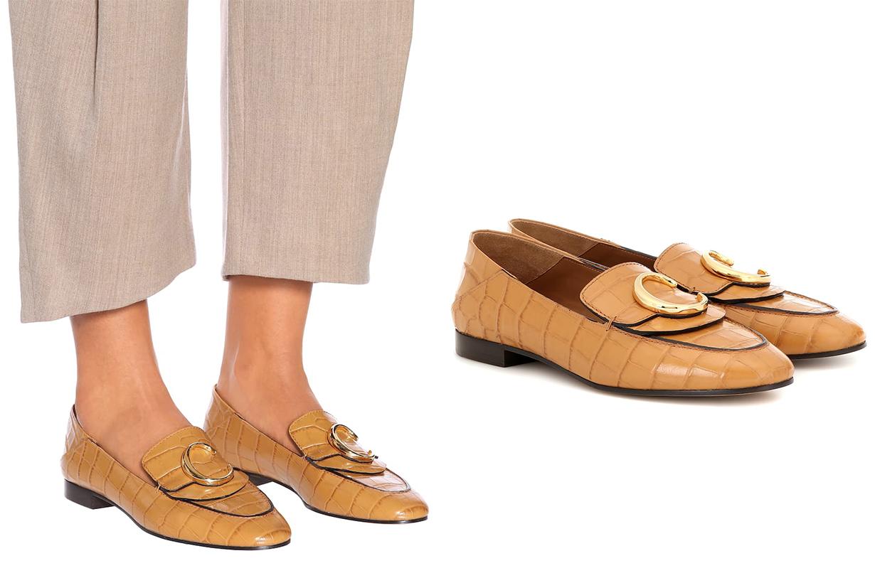 CHLOÉ Chloé C Croc-effect Leather Loafers