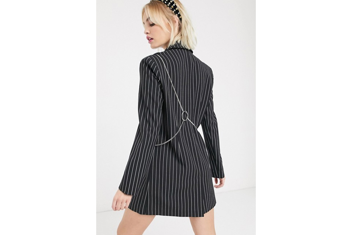 COLLUSION Pinstripe Blazer Dress with Detachable Cross Body Bag