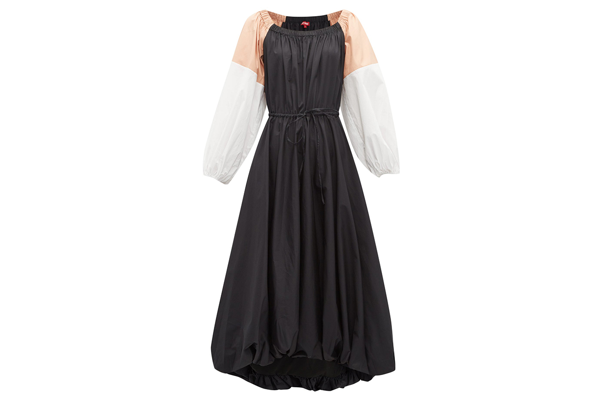 Colour-block Cotton-blend Midi Dress