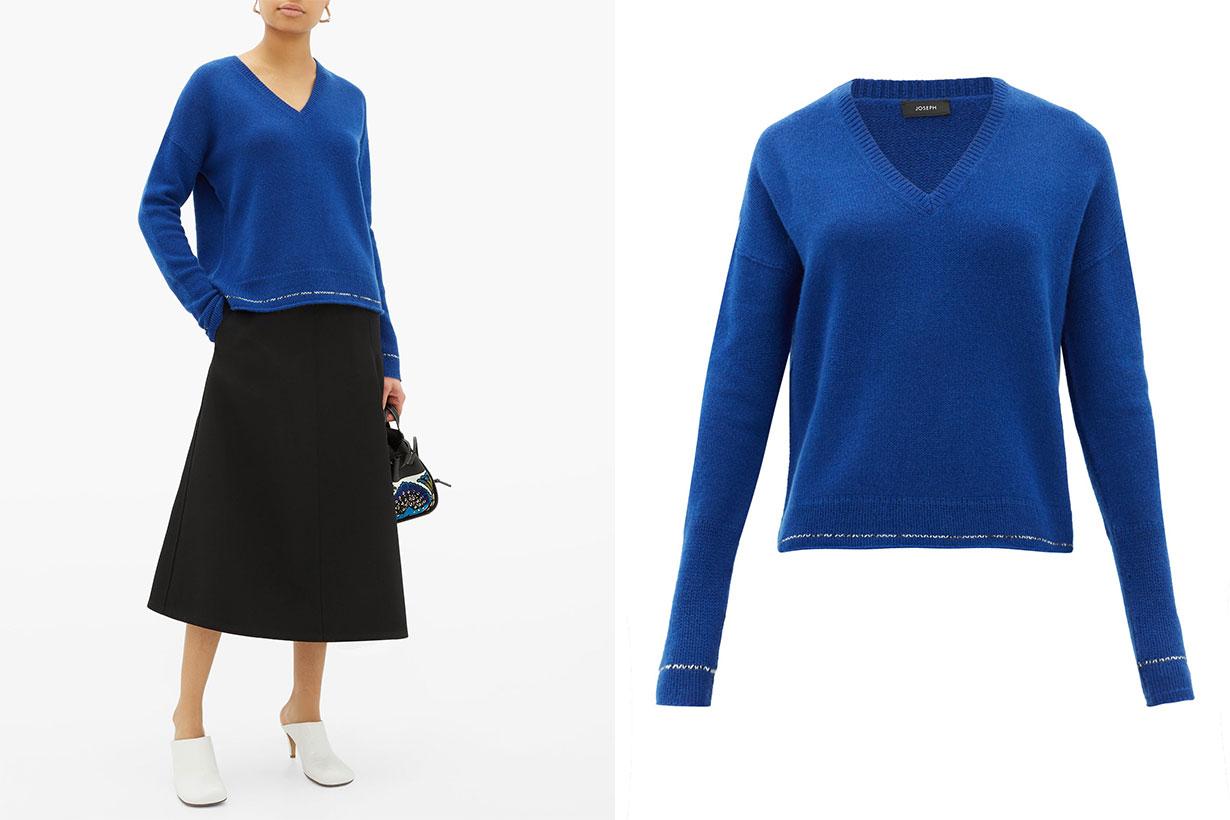 Contrast-stripe cashmere sweater