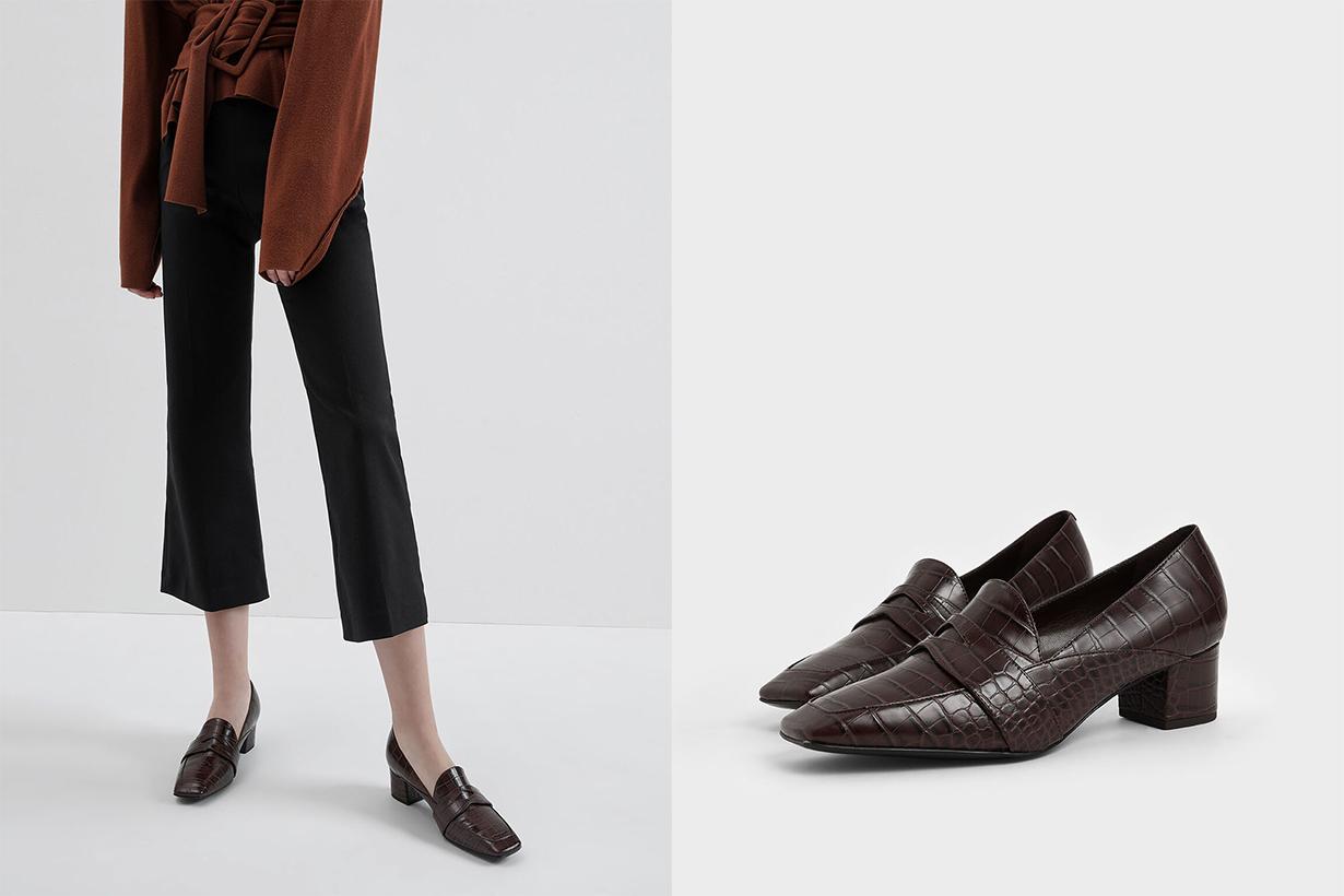 Croc-Effect Square Toe Block Heel Loafers