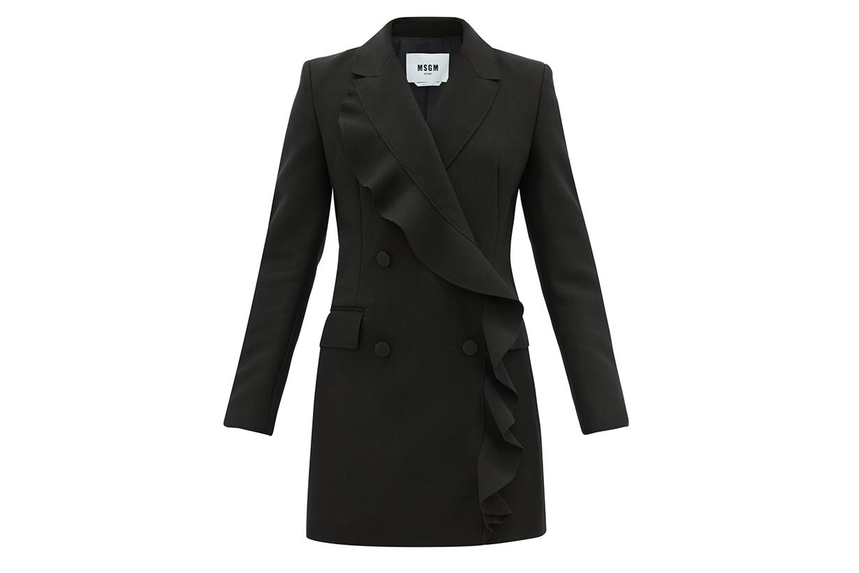 Double-breasted Ruffled Tuxedo Dress