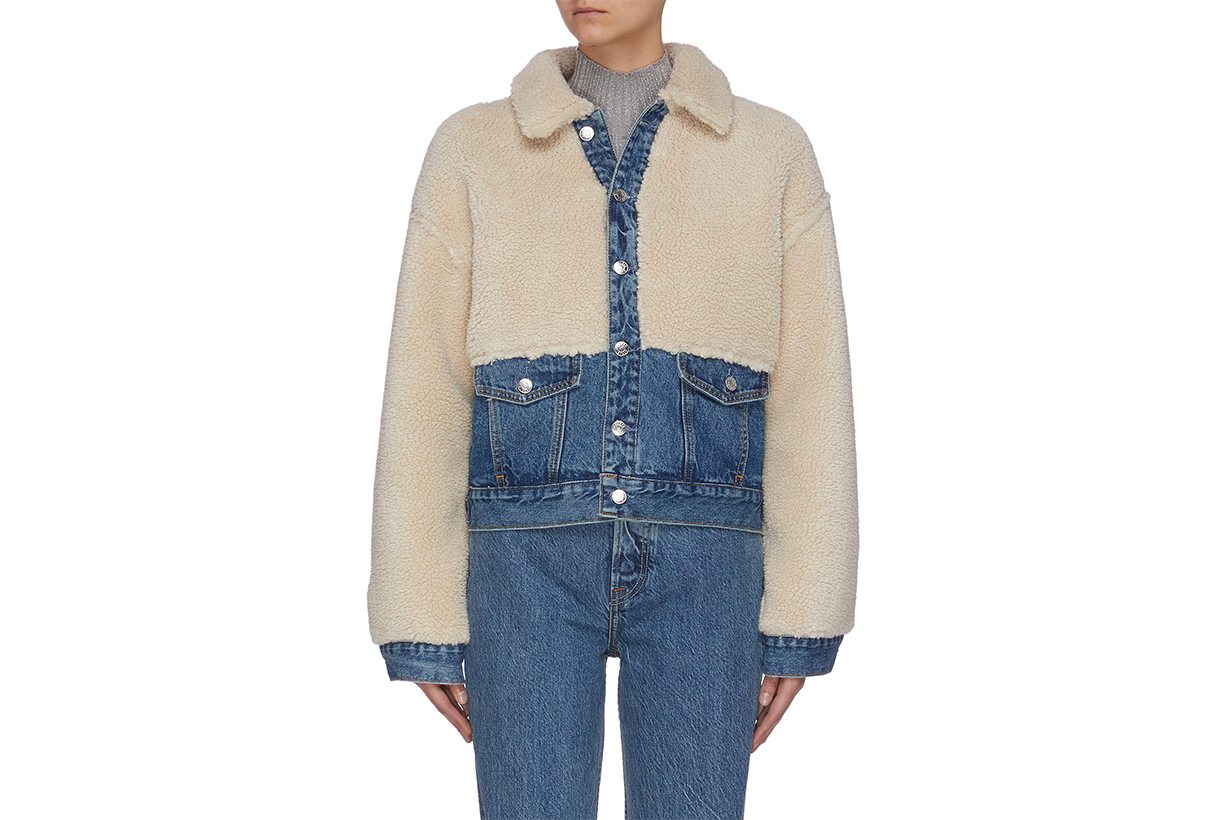 GRLFRND 'MIYA' Shearling Panel Denim Jacket
